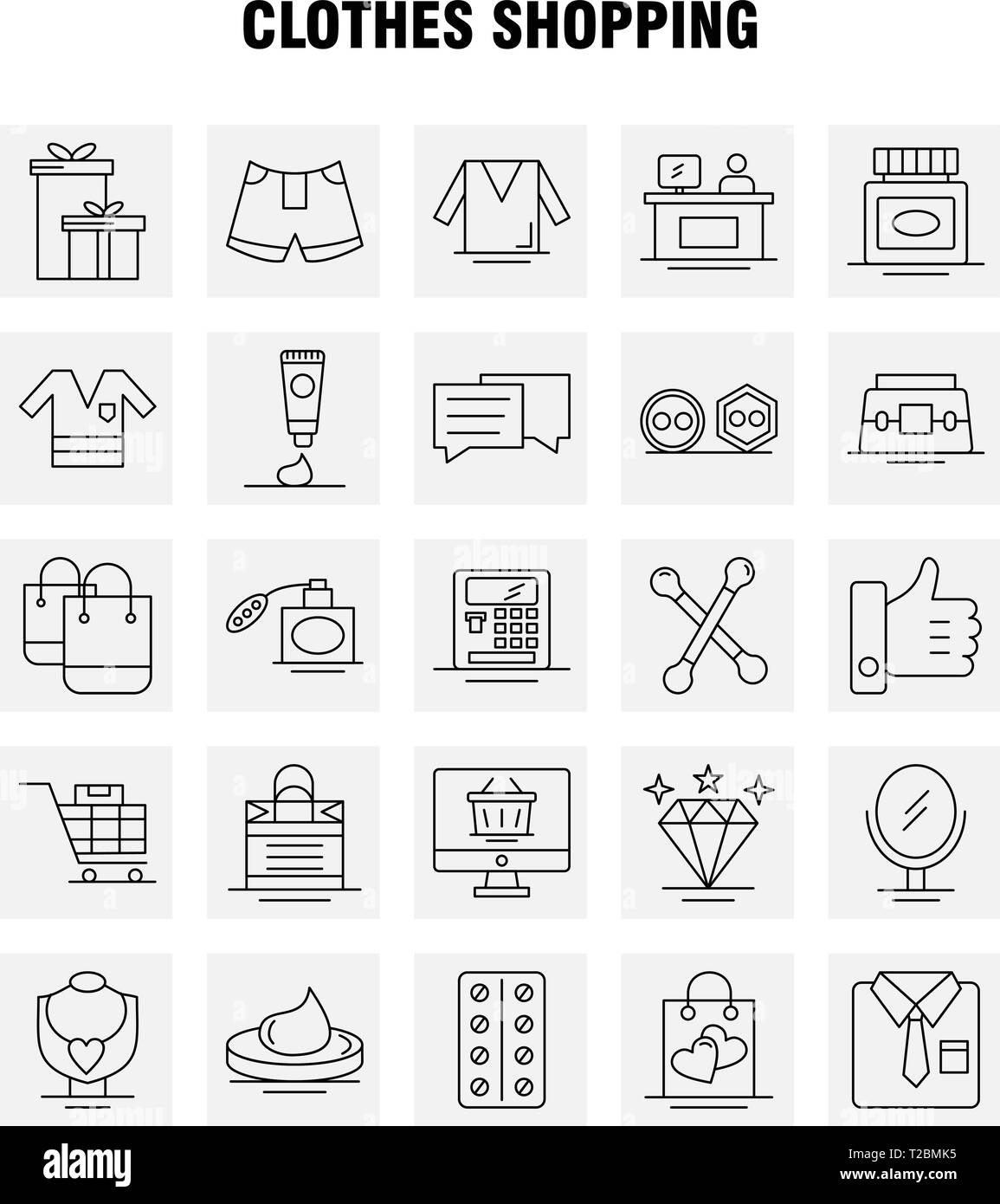 Clothes Shopping Line Icon for Web, Print and Mobile UX/UI Kit. Such as: Shirt, Clothes, Fold, Folding, Dress, Beauty, Cosmetic, Cream, Pictogram Pack - Stock Image