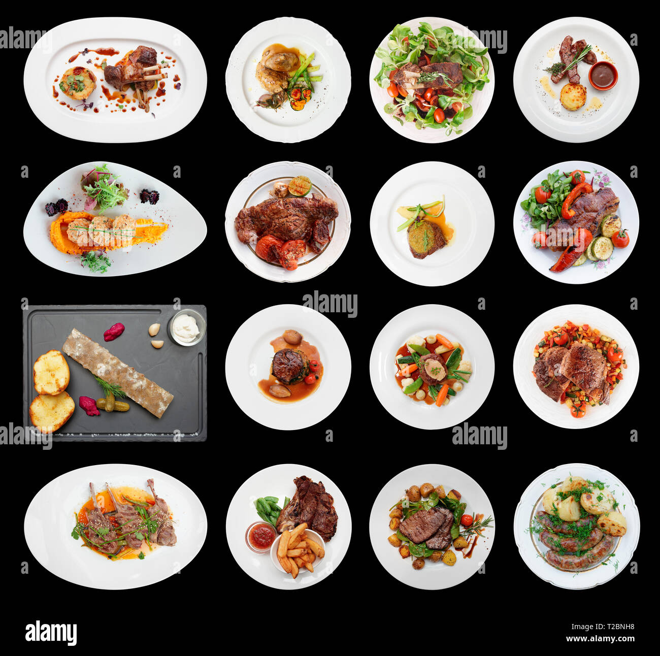 Set of main meat dishes isolated on black background Stock Photo