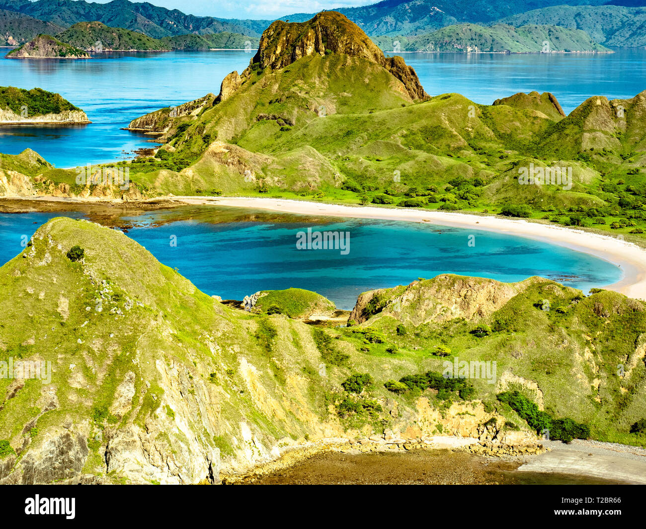 Aerial view of hills in Pulau Padar island in between Komodo and Rinca Islands near Labuan Bajo in Indonesia. - Stock Image