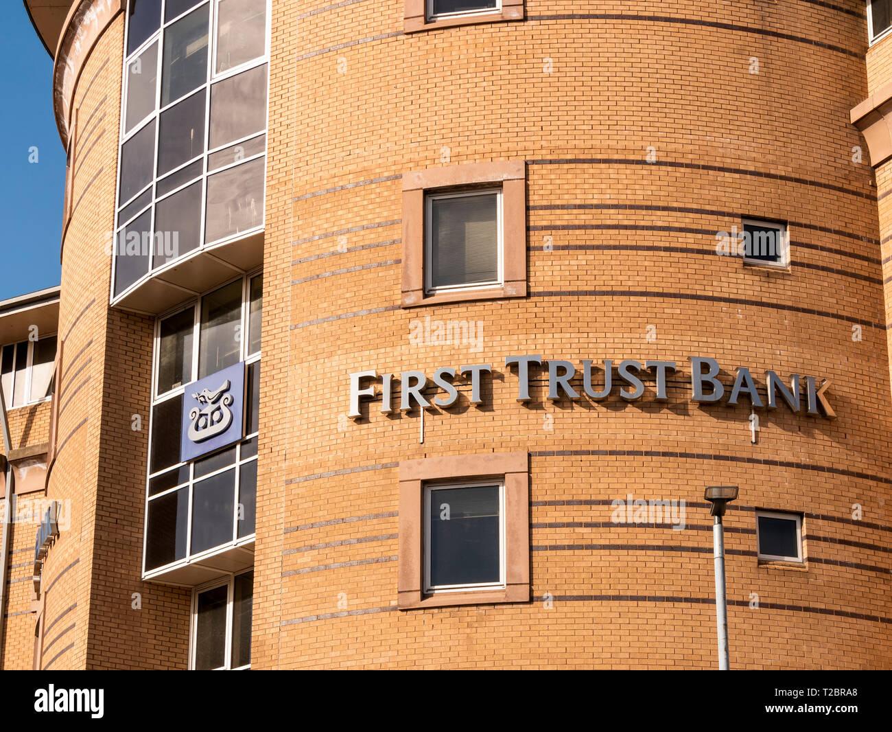 Belfast, Northern Ireland, UK - March, 30 2019: First Trust Bank, Head Office, Ann Street - Stock Image