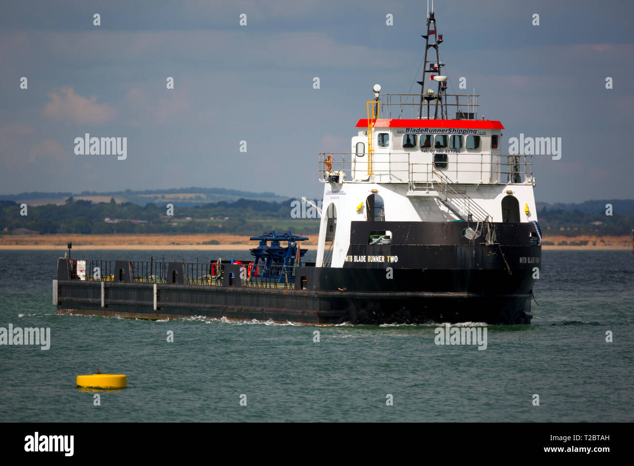 Ship, Blade,Runner,Two,designed,to,carry,large,wind,turbine,blades,from,factory,to,offshore,farms,The Solent,Southampton,Vestas,Cowes,Isle of Wight,En - Stock Image