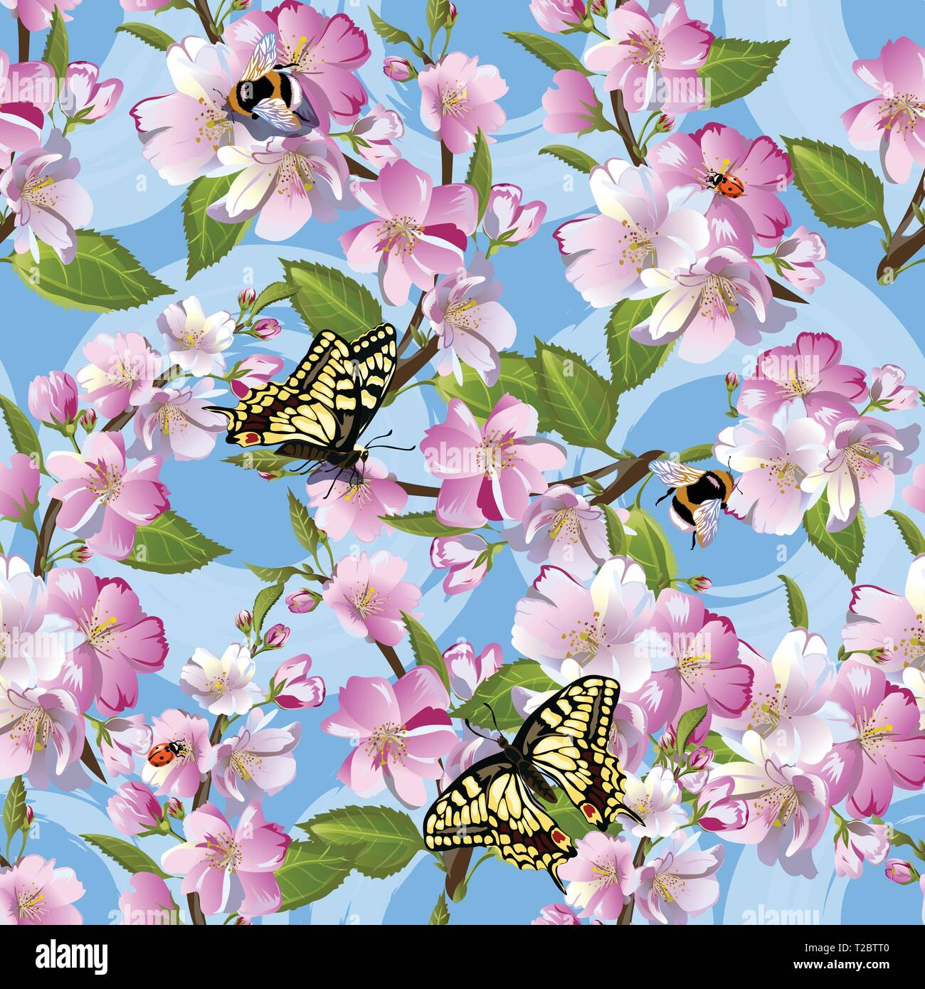 This pattern will give the feeling of the spring sun, carelessness and will look great on women s clothing made of lightweight fabrics such as chiffon - Stock Image