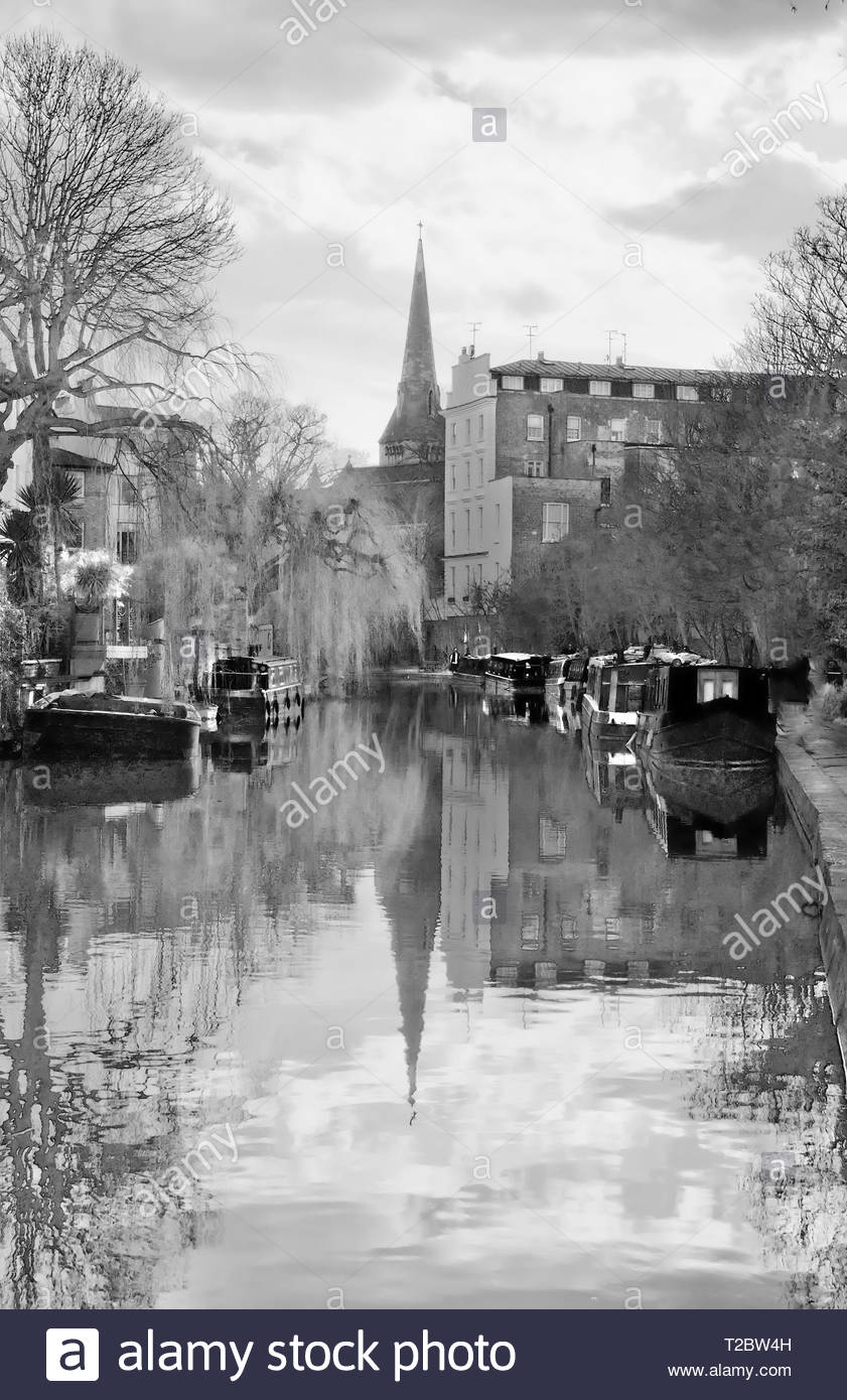 Peaceful canal scene with canal boats and canal buildings, water reflections. Watercolour effect, black and white. - Stock Image