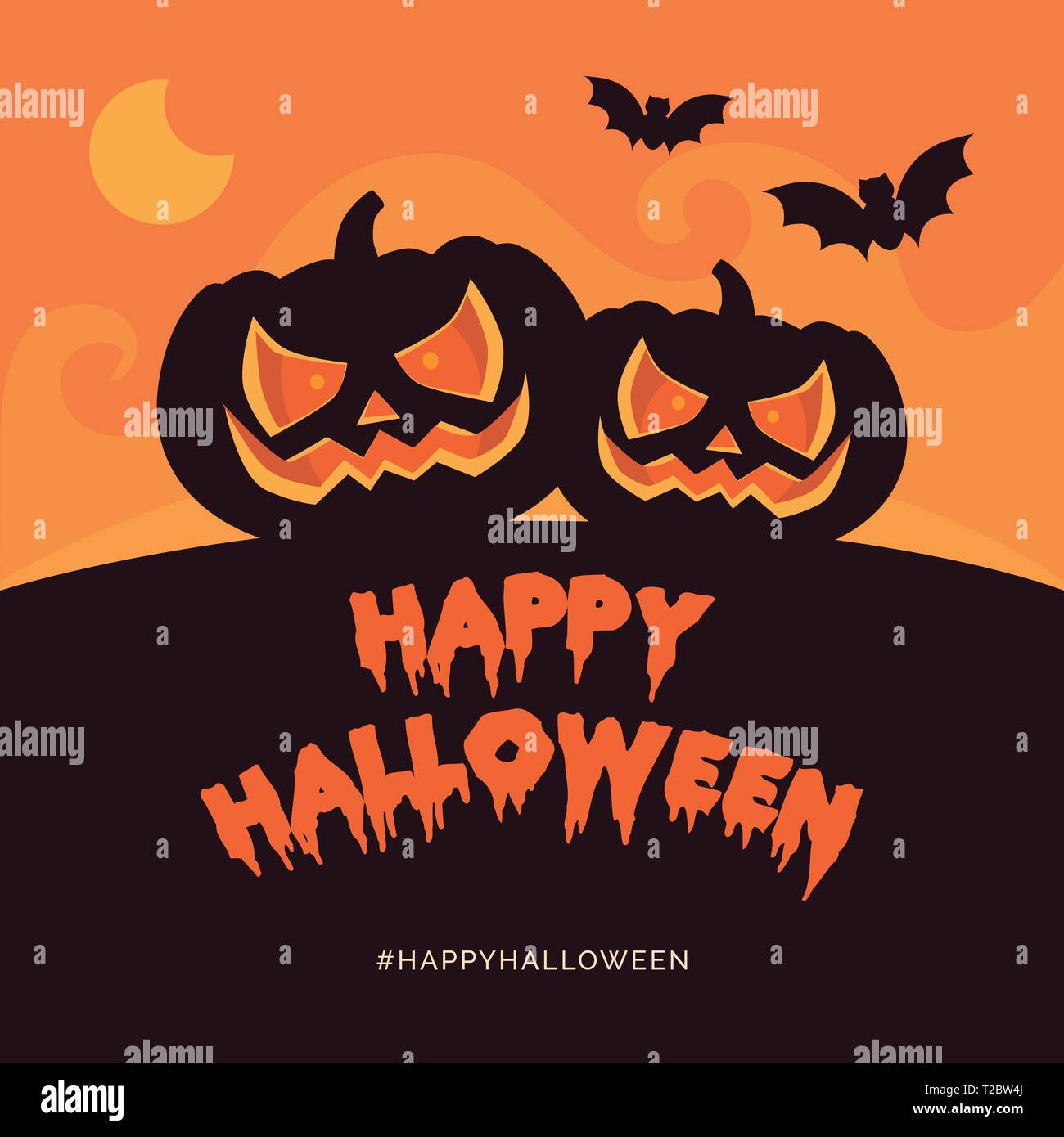 Happy halloween holiday card and social media post with pumpkins and bats - Stock Vector