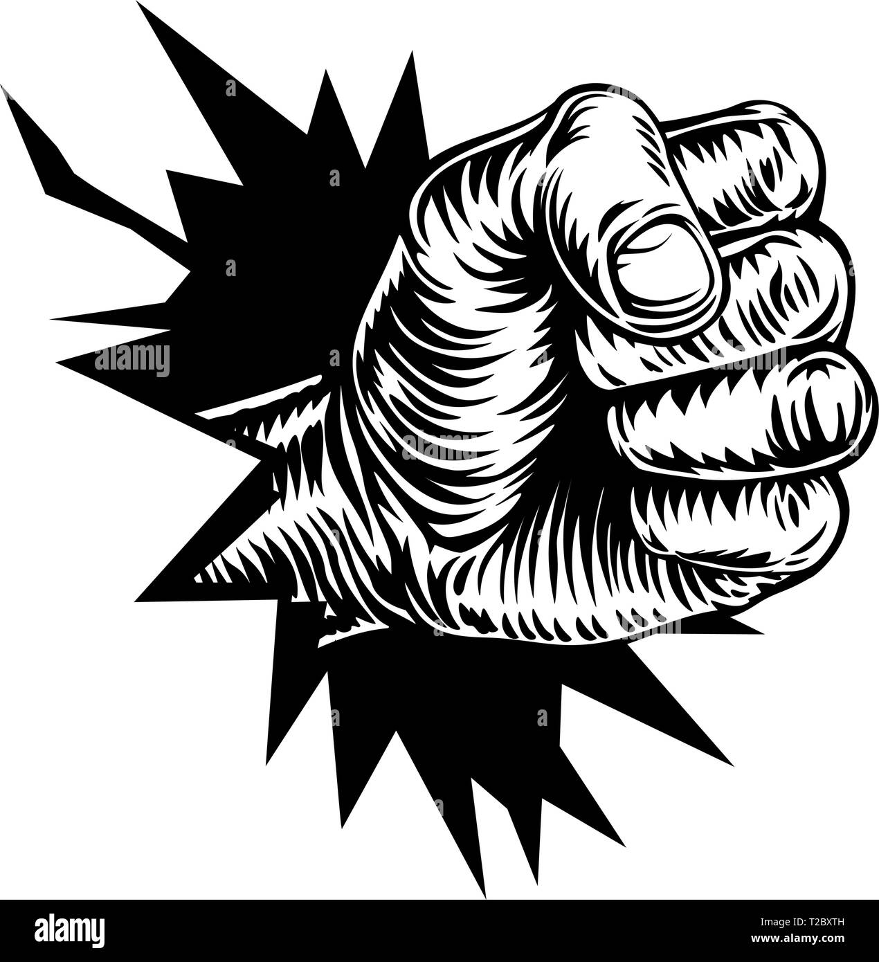 Fist Hand Breaking Background or Wall - Stock Vector