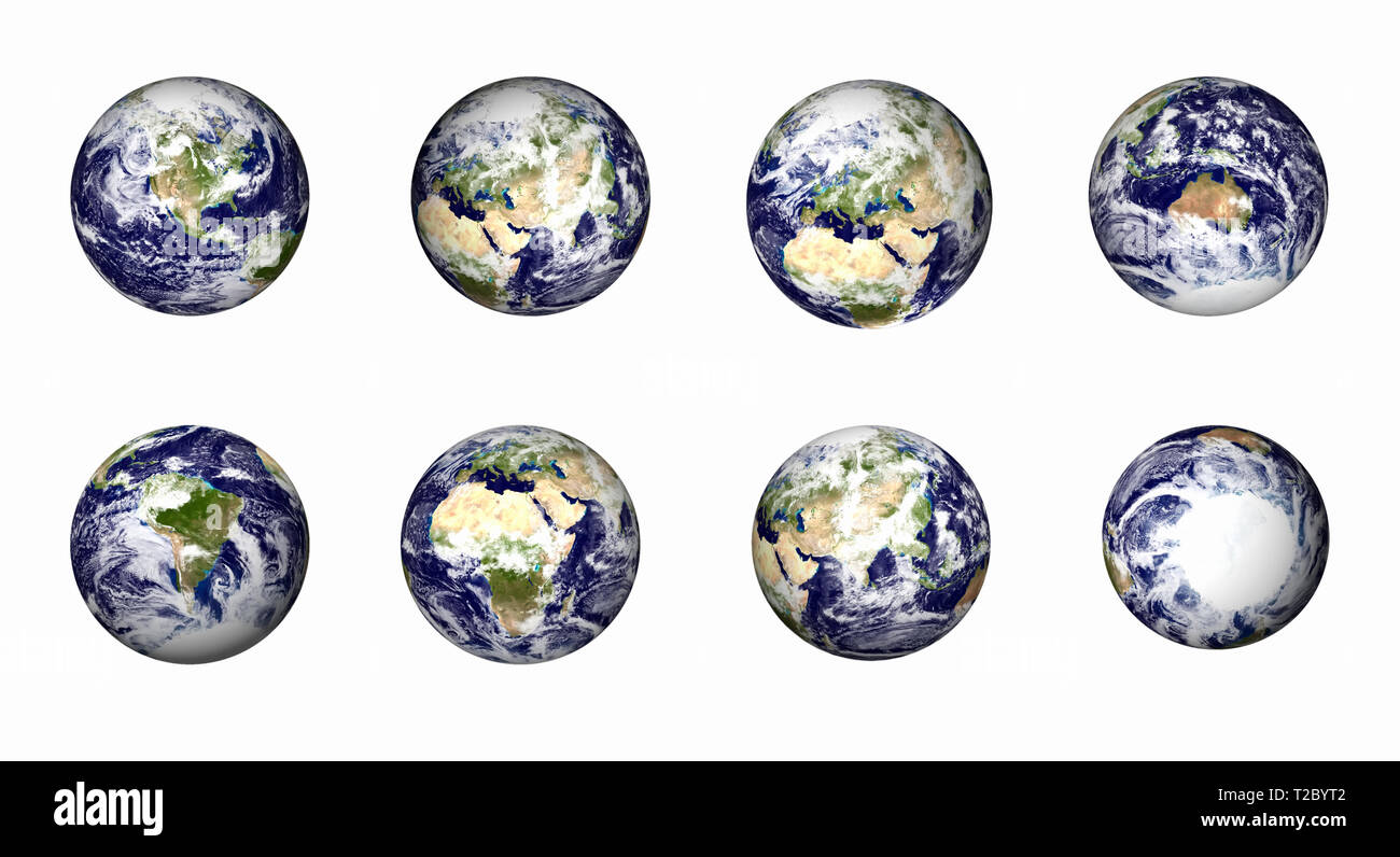Earth icons set. Best view angle for North America, South America, Europe, Middle east and north Africa, Africa, China and India region, Australia, An - Stock Image