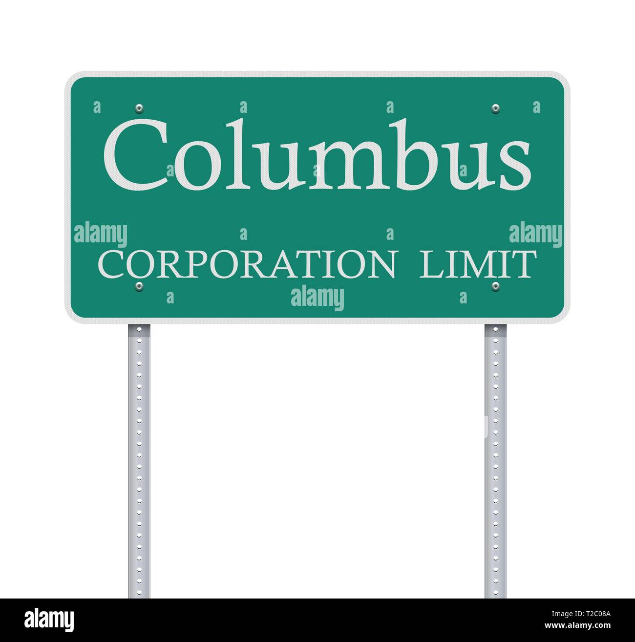 Vector illustration of the Columbus Corporation Limit green road sign - Stock Vector