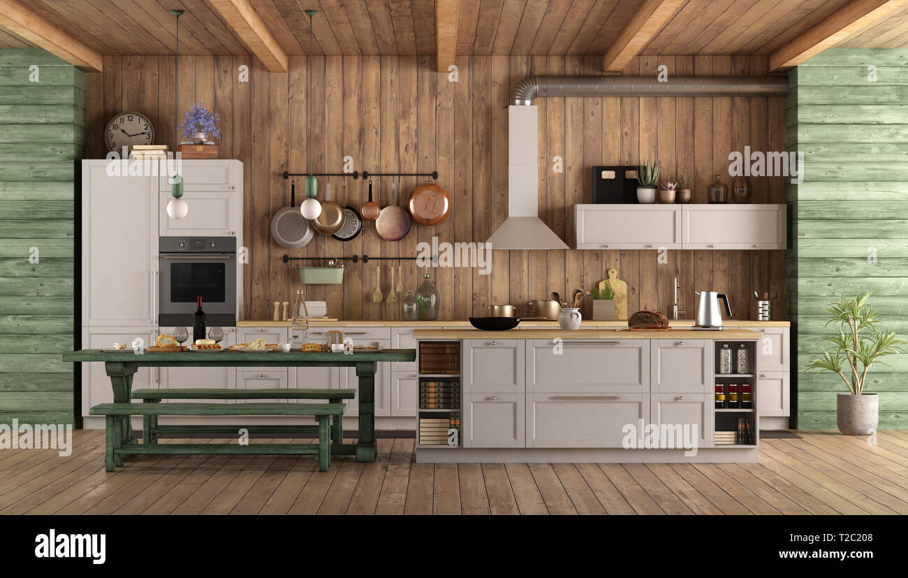 Excellent White And Green Retro Kitchen With Island Dining Table And Gamerscity Chair Design For Home Gamerscityorg