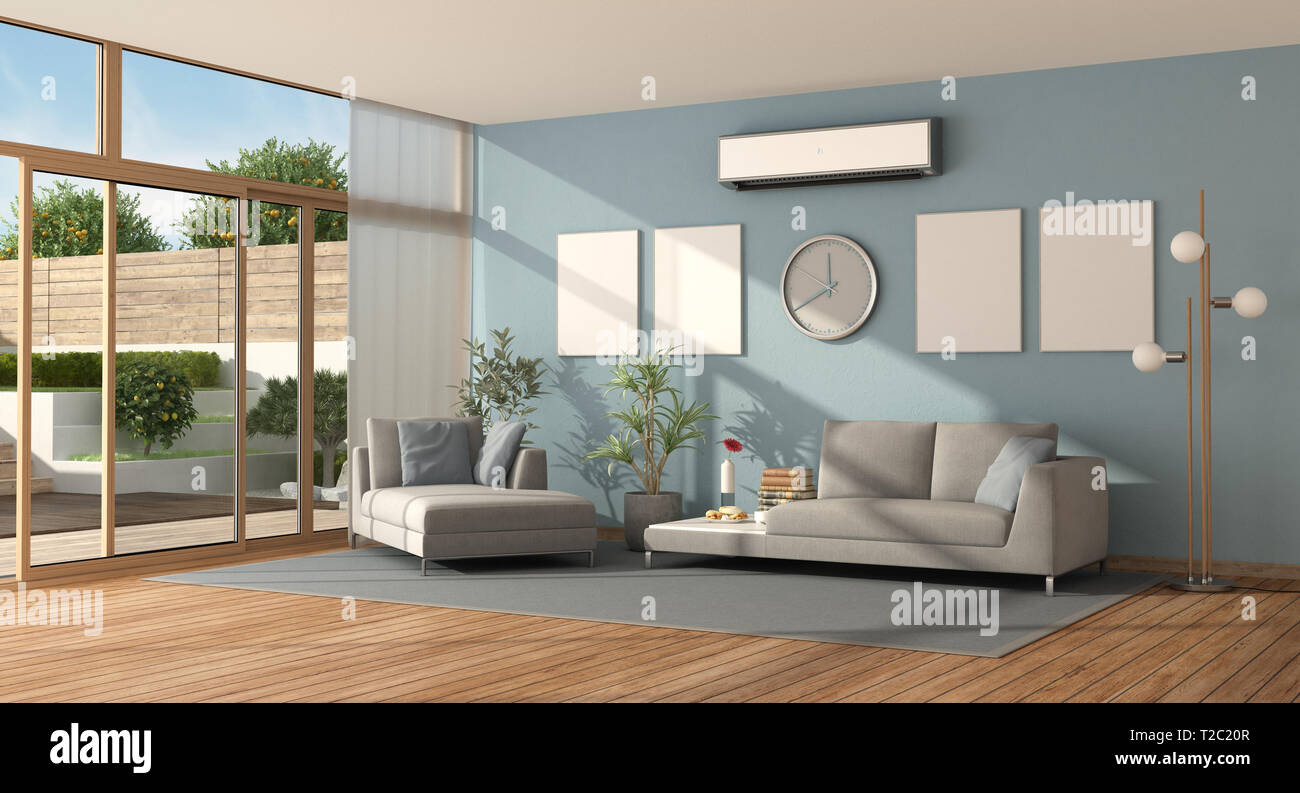 Blue Living Room Of A Modern Villa With Sofa Chaise Lounge And Air Conditioner 3d Rendering Stock Photo Alamy