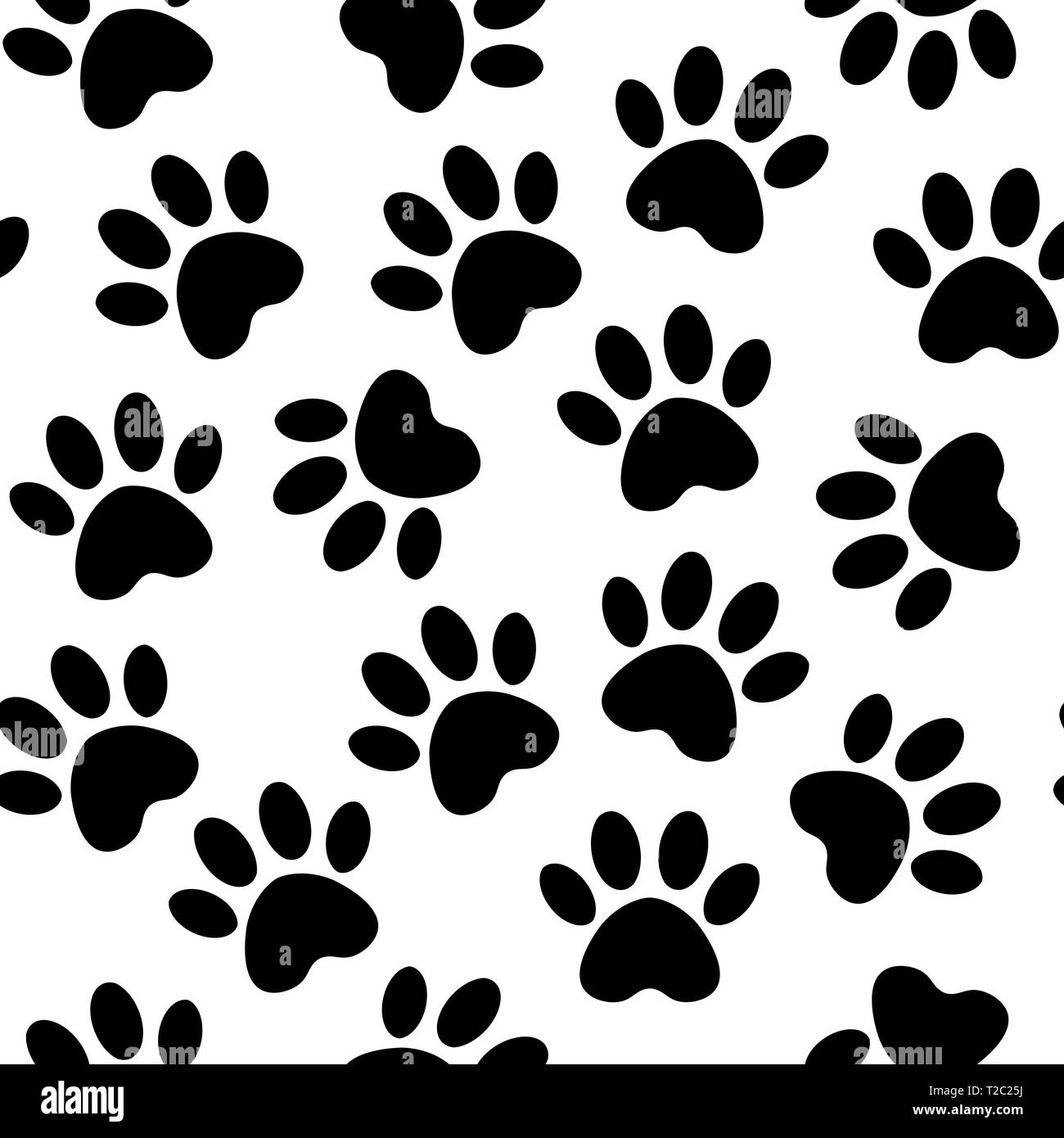 backdrop with silhouettes of cat or dog footprint. Vector illustration animal paw track pattern. Paw black print seamless. - Stock Image