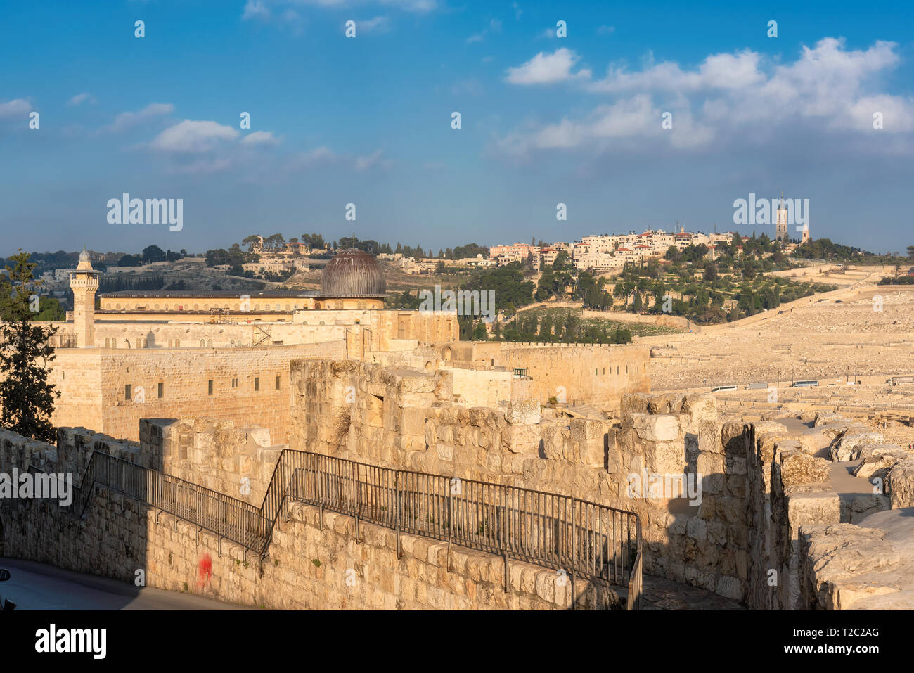 View of Temple Mount and fortress wall in Jerusalem Old Town, Israel. - Stock Image