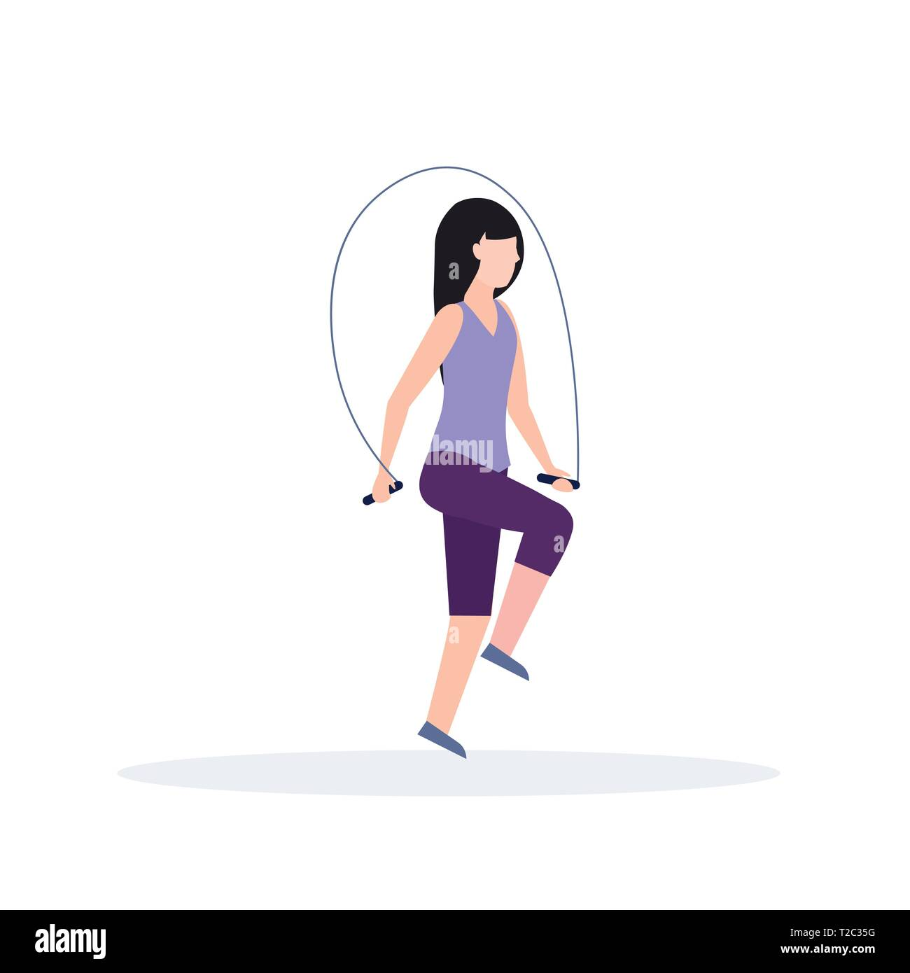 Sporty Woman Doing Exercises With Jumping Rope Girl Training In Gym Aerobic Workout Healthy Lifestyle Concept Flat White Background Stock Vector Image Art Alamy