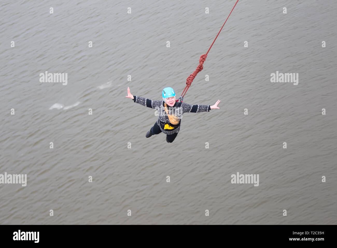 Belarus, Gomel, March 08, 2019  Jumping from the bridge to