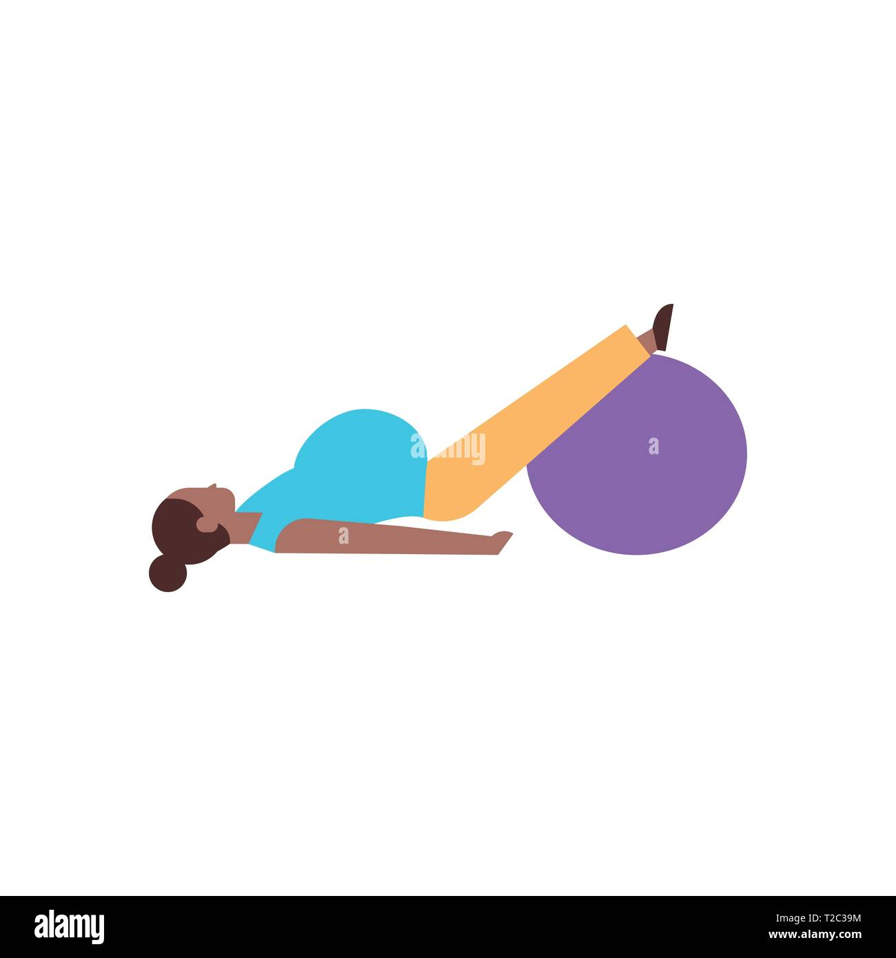 Pregnant Woman Doing Yoga Exercises Girl Working Out With Gymnastic Ball Fitness Pregnancy Healthy Lifestyle Concept African American Female Cartoon Stock Vector Image Art Alamy