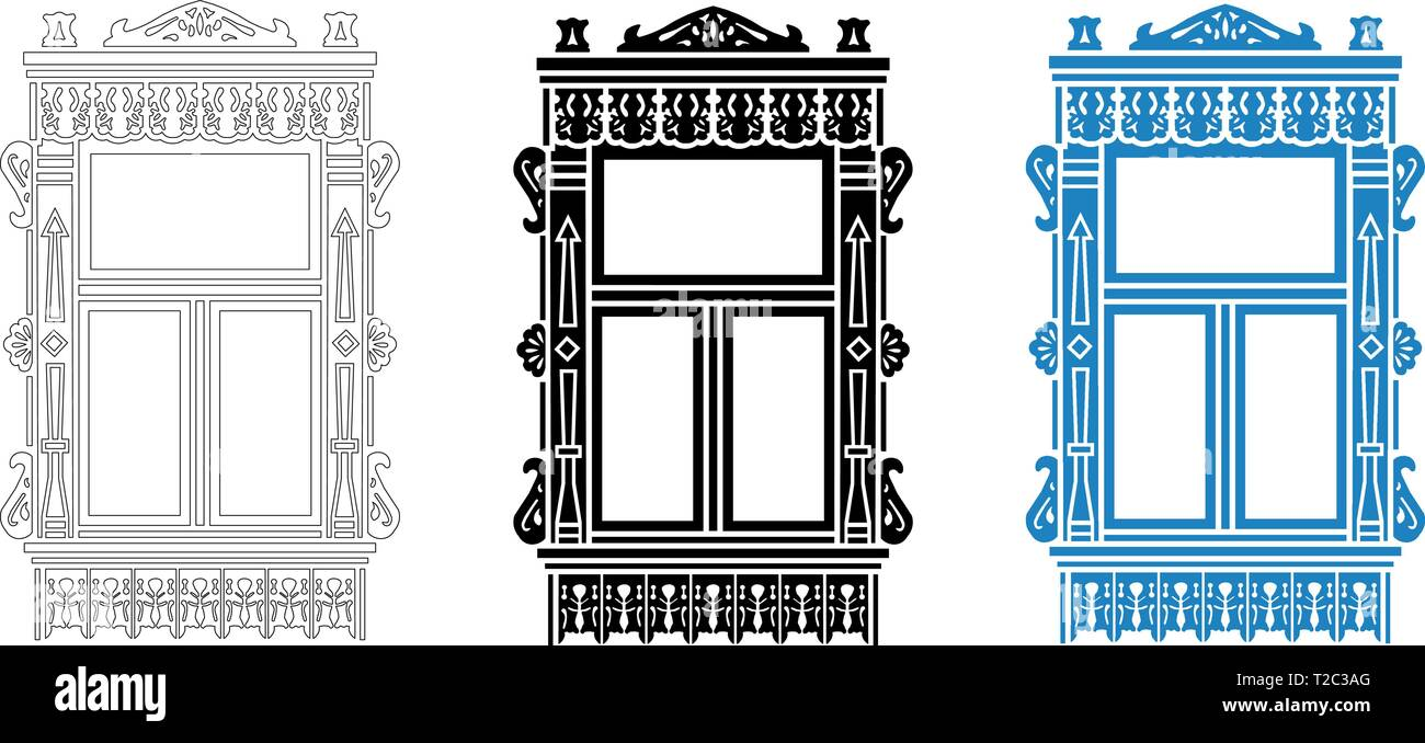 Detail of Russian traditional wooden house. Carved window platband. Vector illustration. Black, black and white, colored silhouette. - Stock Vector
