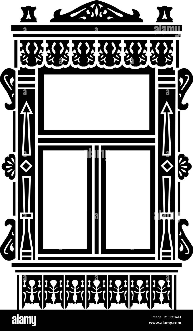 Detail of Russian traditional wooden house. Carved window platband. Vector illustration. Black  silhouette. - Stock Vector