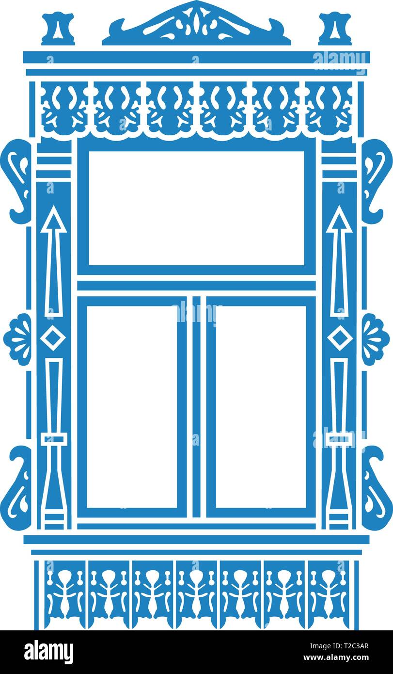 Detail of Russian traditional wooden house. Carved window platband. Vector illustration. Colored silhouette. - Stock Vector