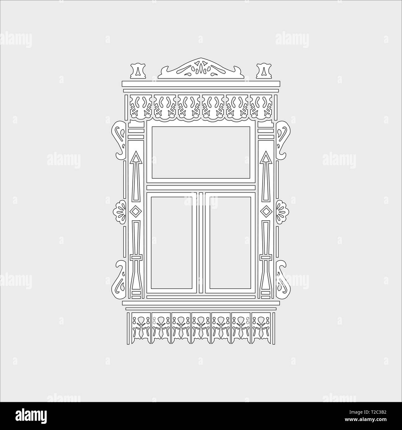 Detail of Russian traditional wooden house. Carved window platband. Vector illustration. Black and white silhouette. - Stock Vector