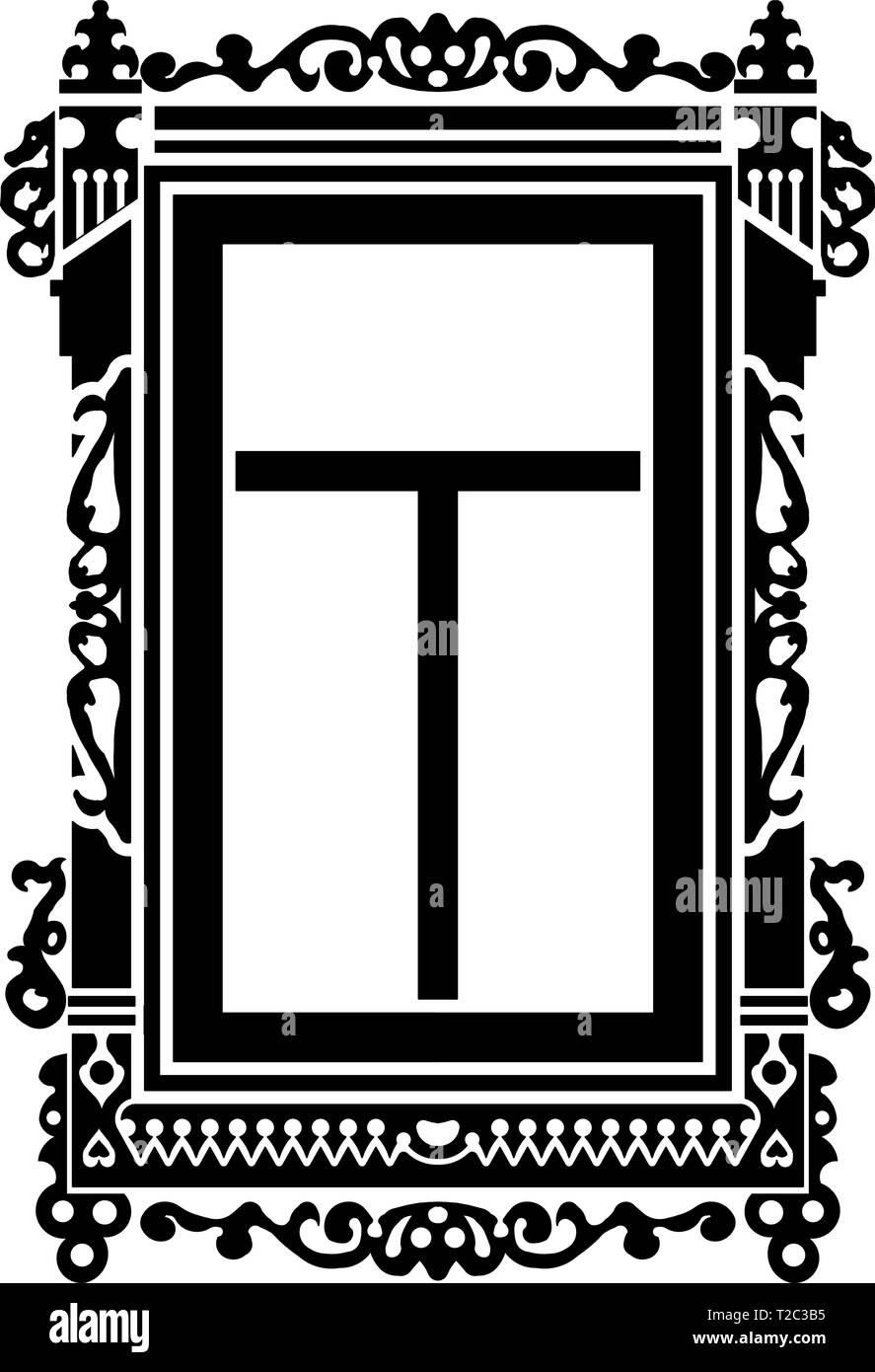 Detail of old Russian  wooden house. Carved window platband. Vector illustration. Black   silhouette. - Stock Vector