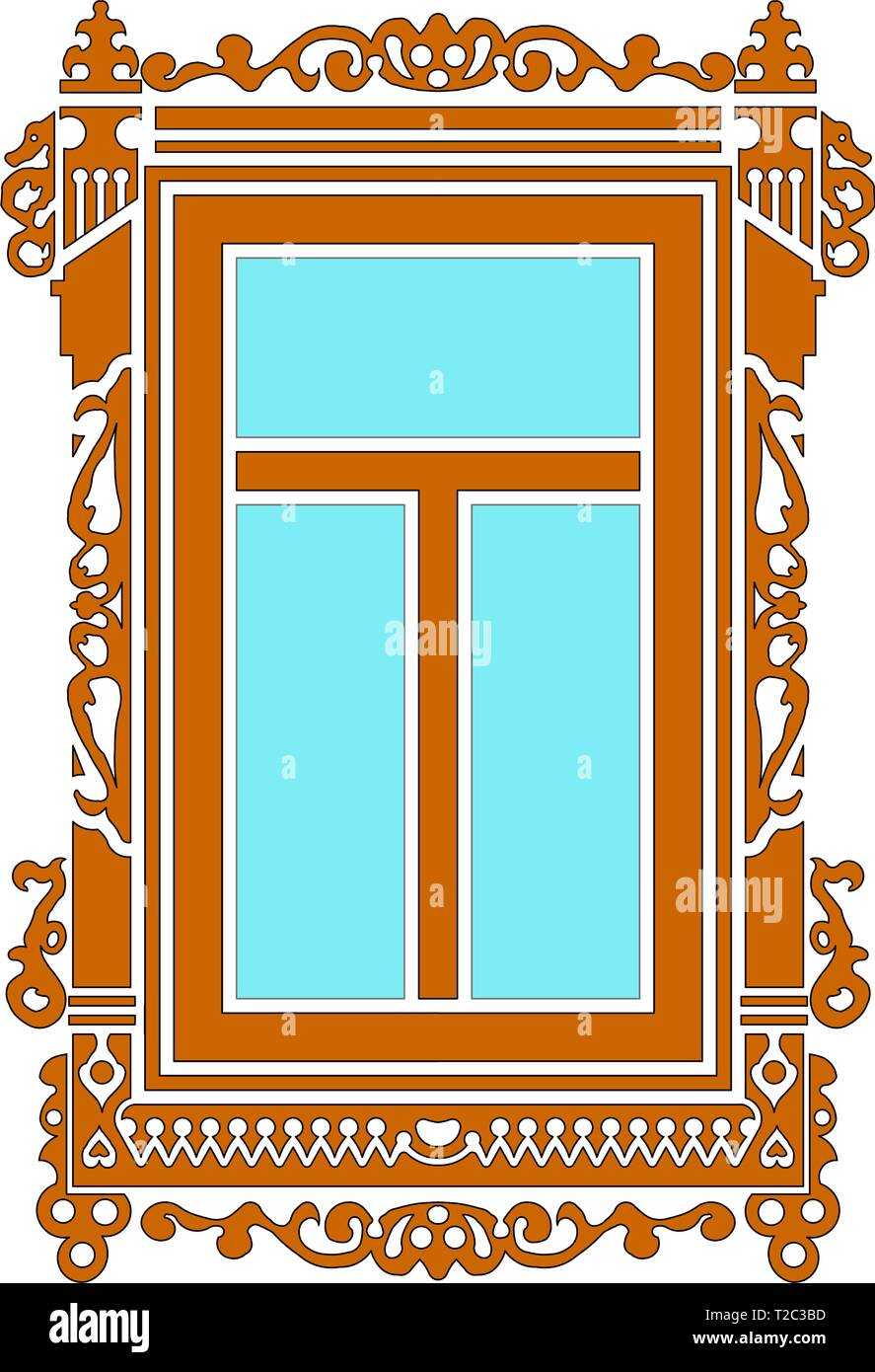 Detail of old Russian  wooden house. Carved window platband. Vector illustration. Color silhouette. - Stock Vector