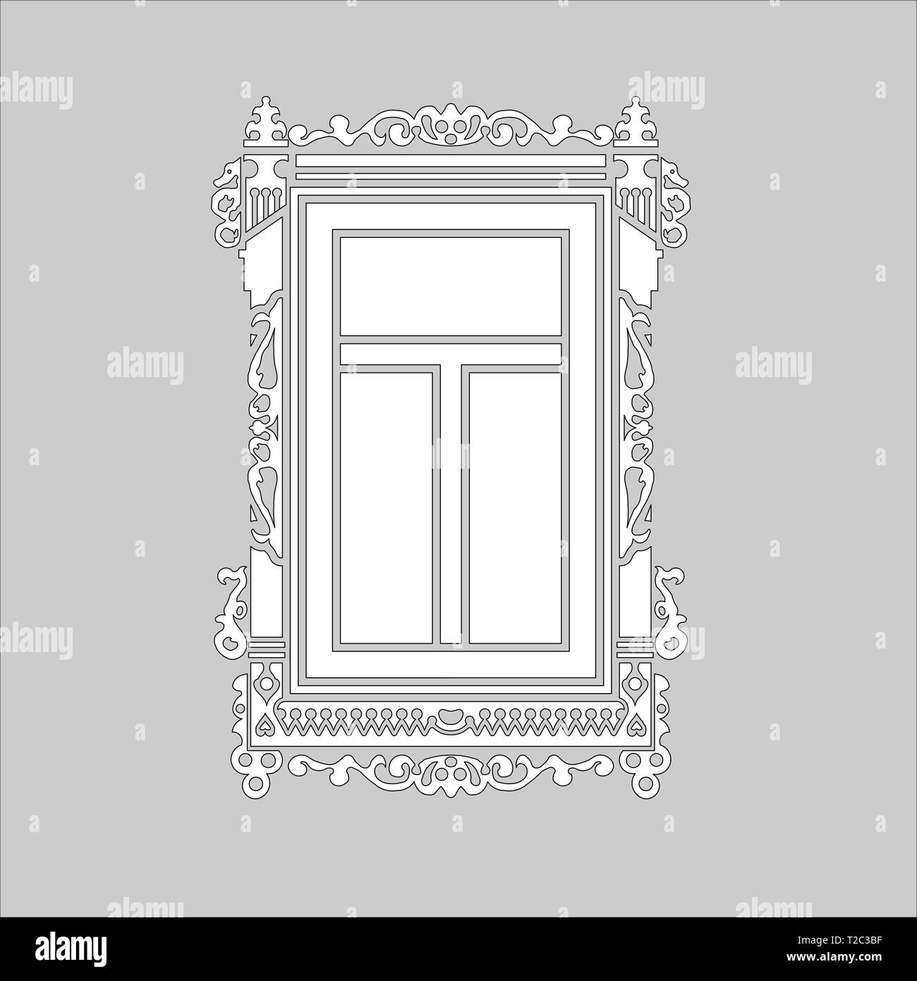 Detail of old Russian  wooden house. Carved window platband. Vector illustration. Black and white silhouette. - Stock Vector