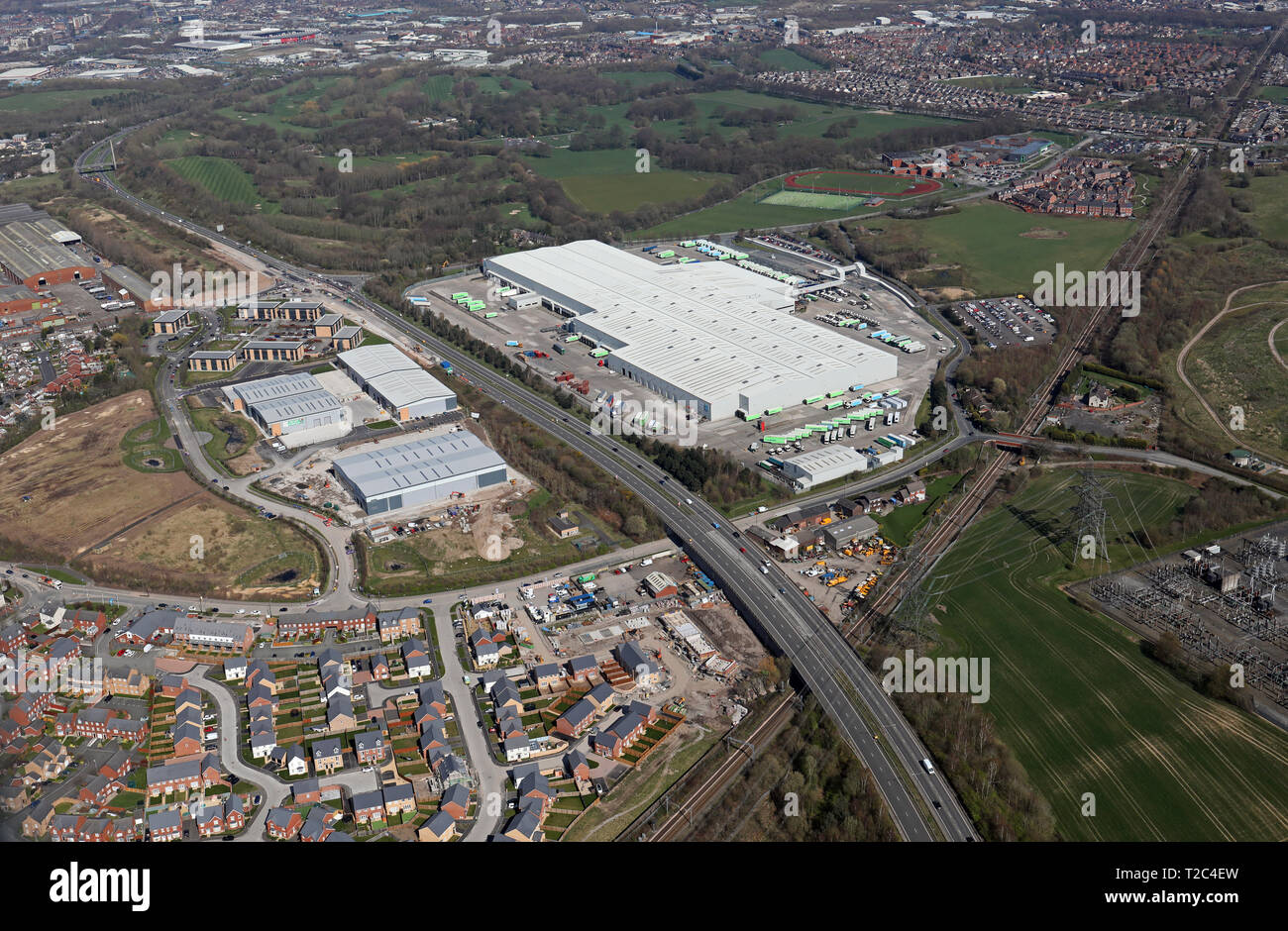 aerial view of Wincanton Co-operative RDC & Mere Grange Estate, St Helens, Merseyside - Stock Image