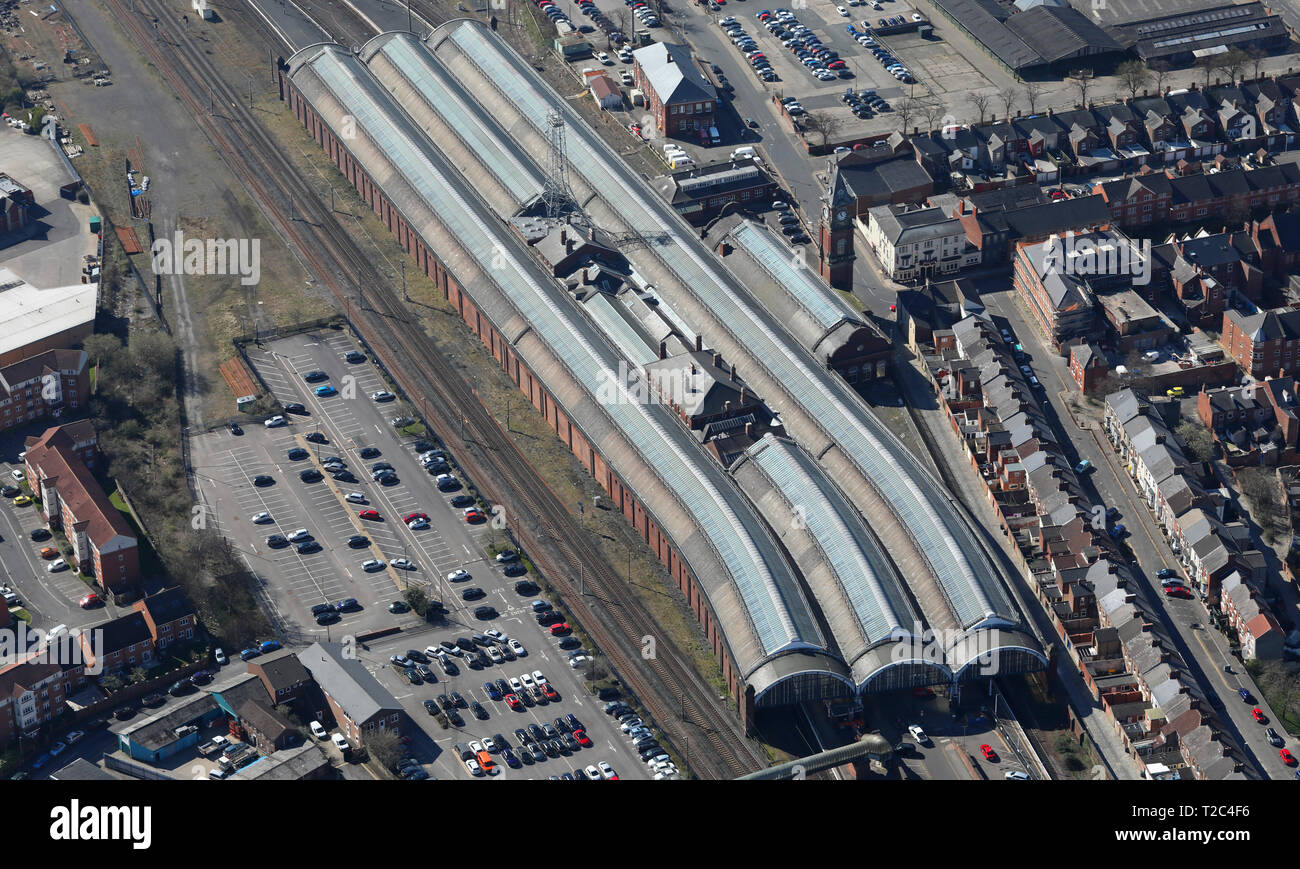 aerial view of Darlington train station, County Durham - Stock Image