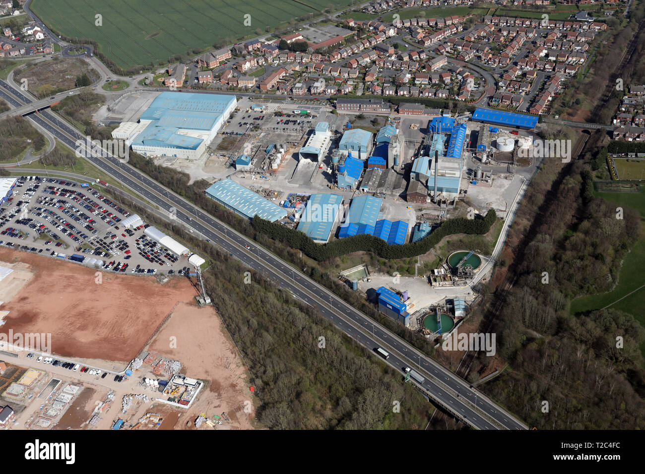 aerial view of the BYK Additives Ltd manufacturing plant at Widnes, Cheshire - Stock Image