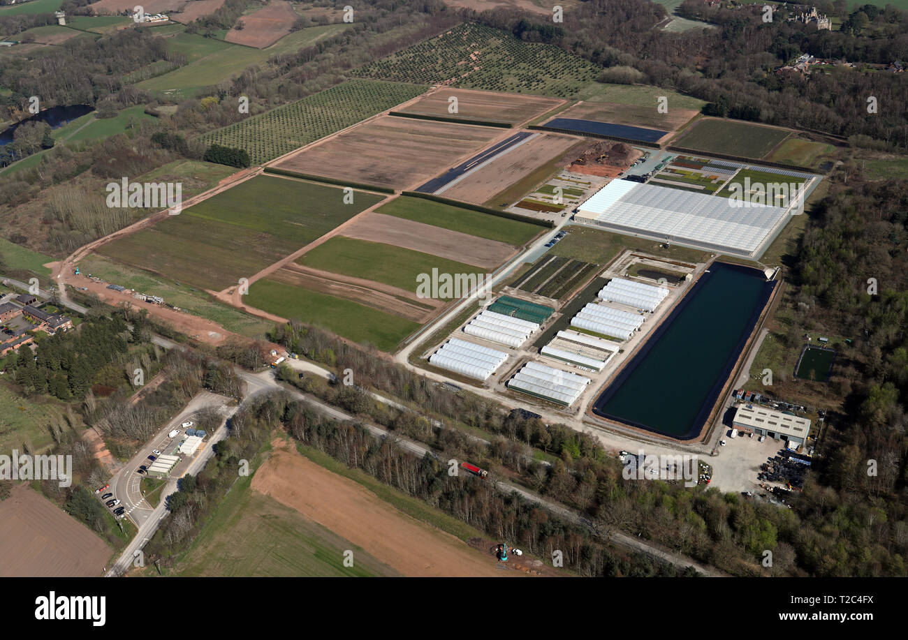 aerial view of a horticulture nursery near Sandiway, Cheshire - Stock Image