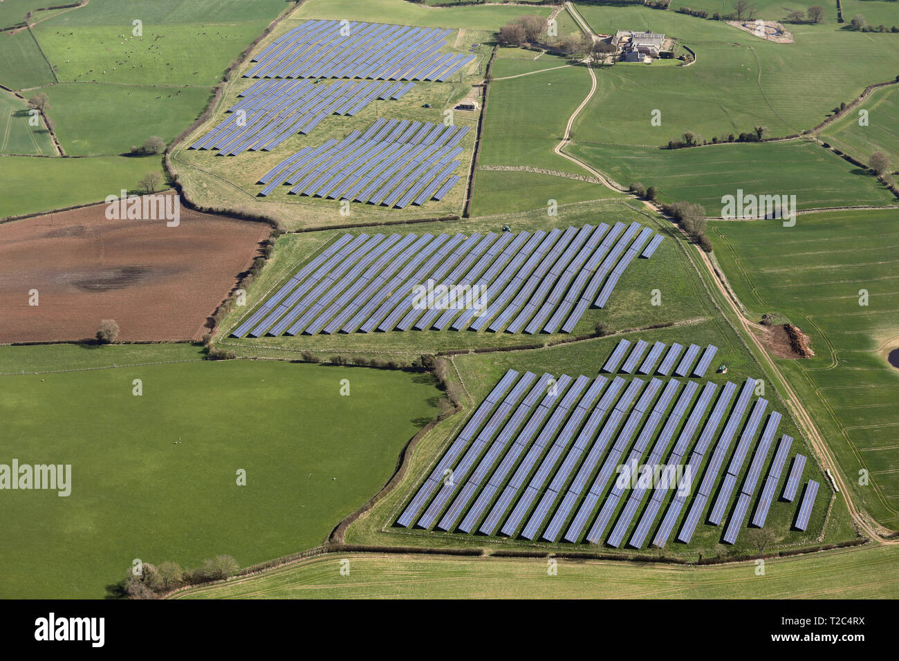 aerial view of a solar farm in Northern England, UK - Stock Image