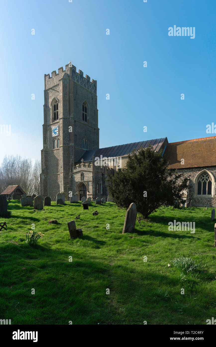England church, view across the churchyard towards the 14th century St Mary's Church in the Suffolk village of Kersey, England, UK. - Stock Image