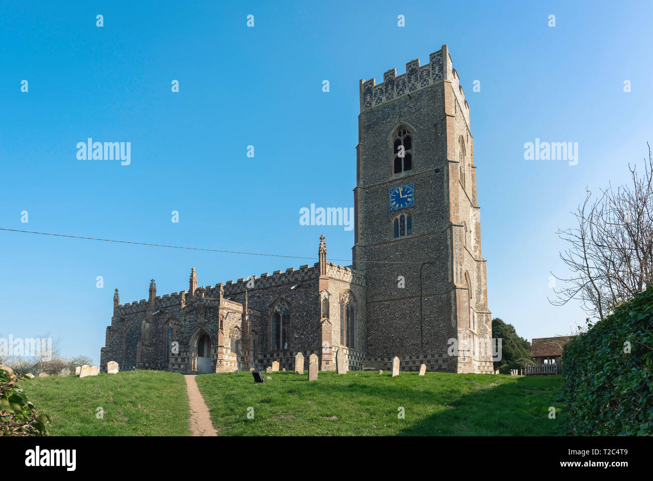 Kersey Church, view of the 14th century St Mary's Church in the Suffolk village of Kersey, England, UK. - Stock Image
