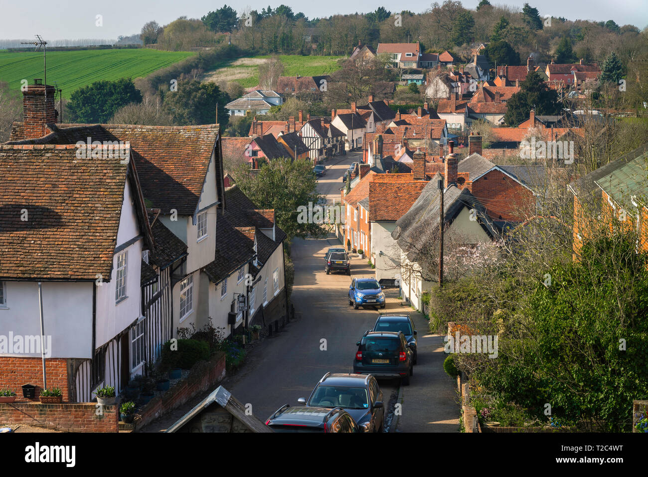Kersey Suffolk, view of the Suffolk village of Kersey whose main road - The Street - is lined with well preserved medieval houses, Suffolk, England,UK - Stock Image