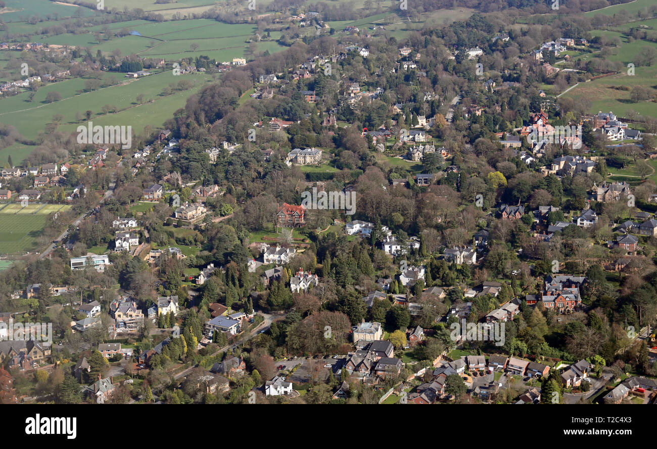 aerial view of posh houses in Alderley Edge, Wilmslow, Cheshire - Stock Image