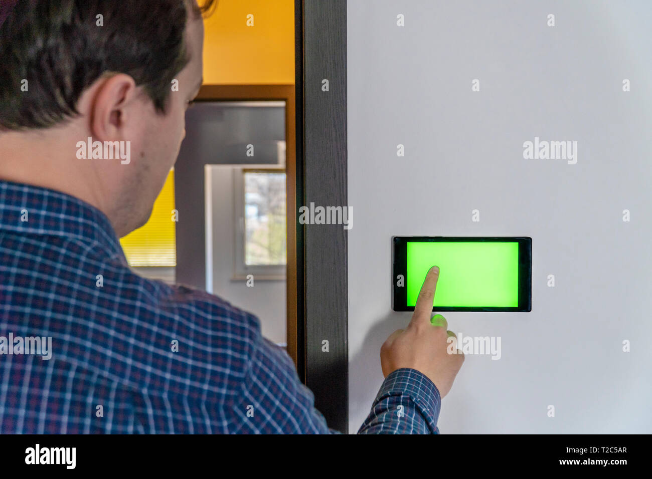 Smart home control and security concept  Device with blank