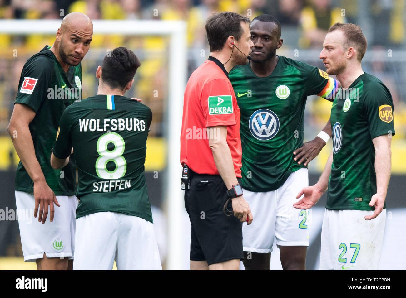 The Wolfsburg players, left to rightn r  John Anthony BROOKS