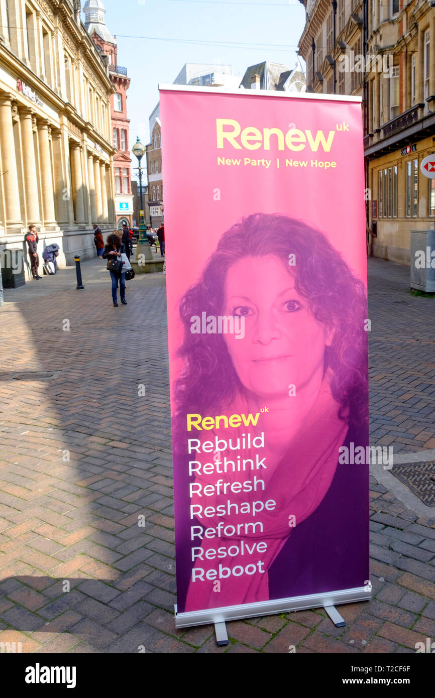 Newport, Gwent, Wales, UK. 1st April, 2019. The Renew Party are canvassing on the Streets of Newport, UK. 1st Apr, 2019. ahead of the By-Election on Thursday 4thApril. © Alamy Live New/Mr Standfast Credit: Mr Standfast/Alamy Live News - Stock Image