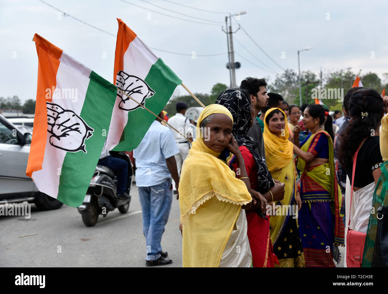 Guwahati, India. 1st Apr 2019. Congress supporters during the nomination filing procession of the party candidate from Guwahati constituency Bobeeta Sarma, in Guwahati, Monday, April 1, 2019.  Credit: David Talukdar/Alamy Live News - Stock Image