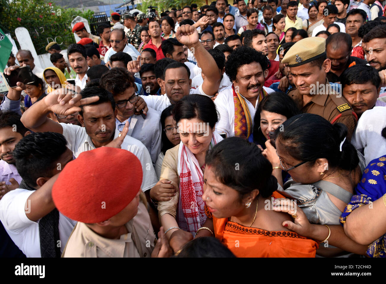 Guwahati, India. 1st Apr 2019. Congress party candidate from Guwahati constituency Bobeeta Sarma with the supporters after the nomination in Guwahati, Monday, April 1, 2019.  Credit: David Talukdar/Alamy Live News - Stock Image