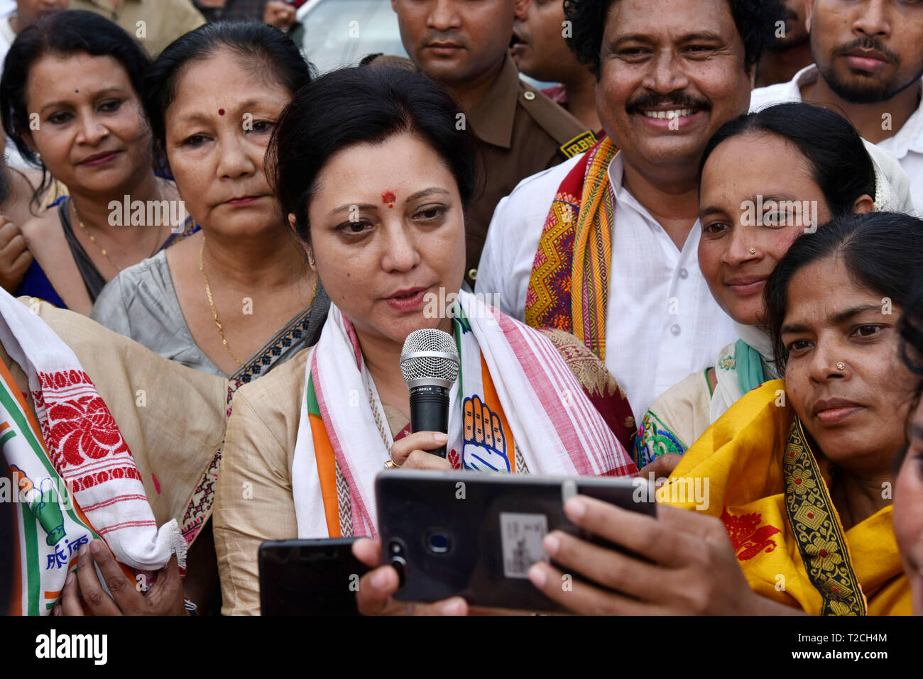 Guwahati, India. 1st Apr 2019. Congress party candidate from Guwahati constituency Bobeeta Sarma addressing to the supporters after the nomination in Guwahati, Monday, April 1, 2019.  Credit: David Talukdar/Alamy Live News - Stock Image