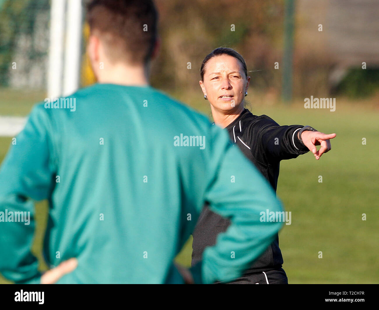 Duisburg, Germany. 01st Apr, 2019. Soccer: Regionalliga West, SV Straelen. For the first time Inka Grings leads the training at the fourth league team SV Straelen. This makes her the first woman to take on a coaching position in the regional fourth division. Credit: Roland Weihrauch/dpa/Alamy Live News - Stock Image