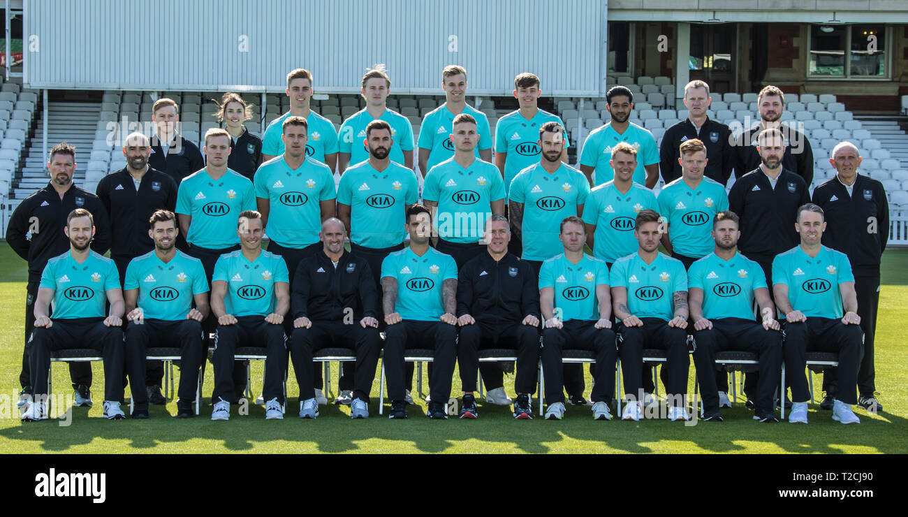 London, UK 1 April, 2019  Squad photograph in blue Vitality