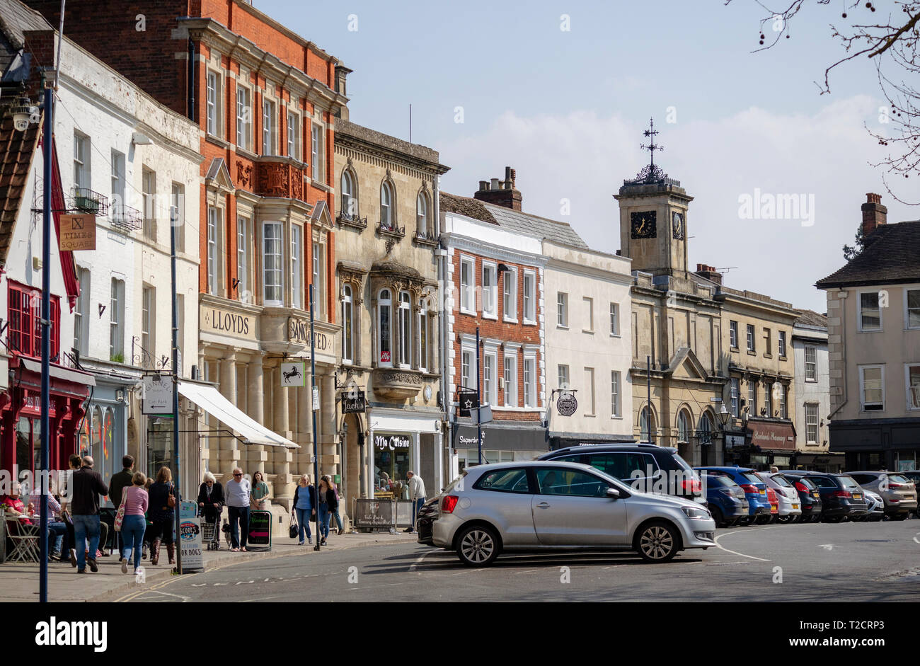 Devizes, Wiltshire,England, UK. March 2019. Business buildings on Market Square in Devizes a market town. - Stock Image