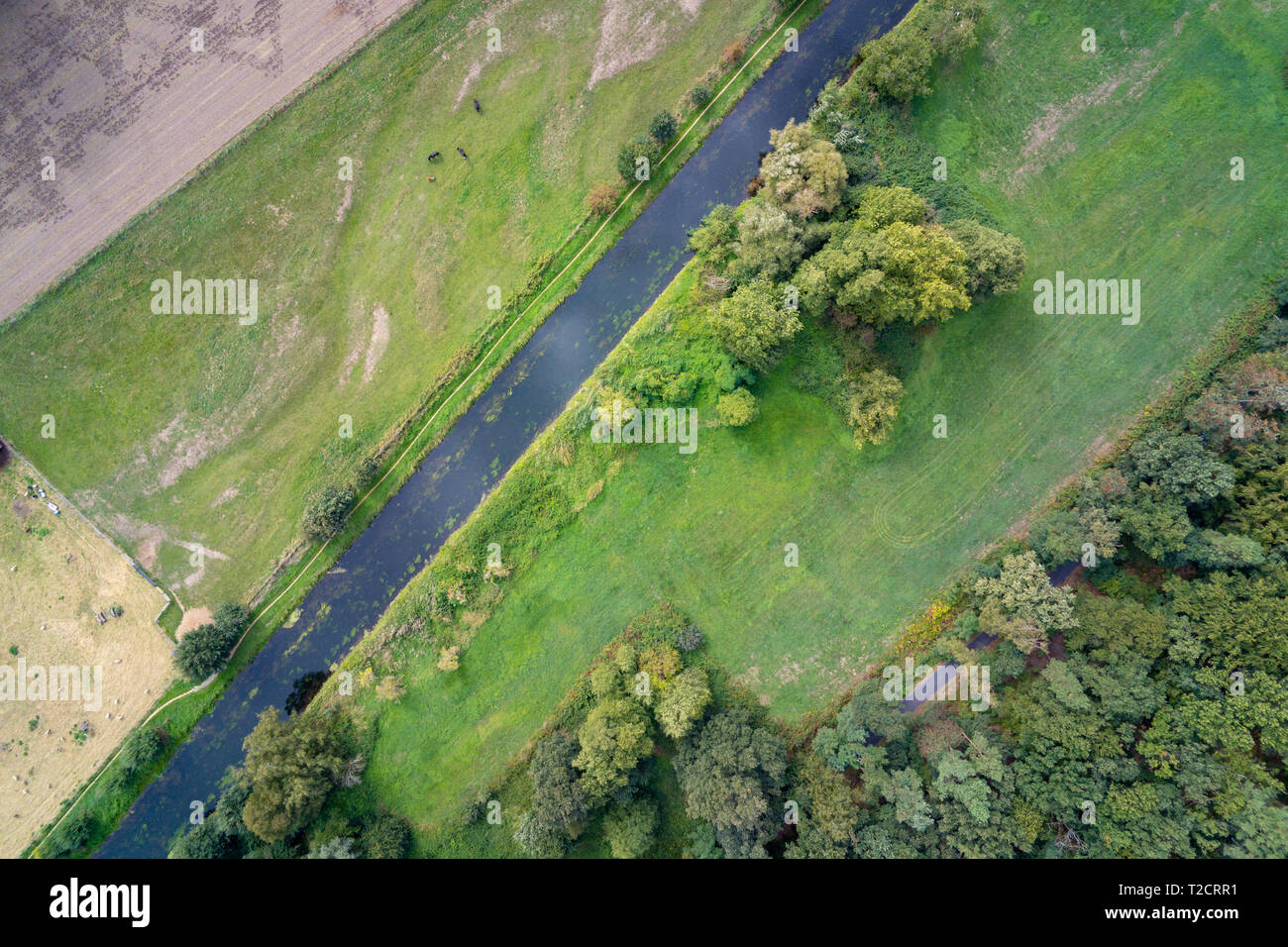 Straight river Niers in Germany aerial shot of the area called Niederrhein - Stock Image