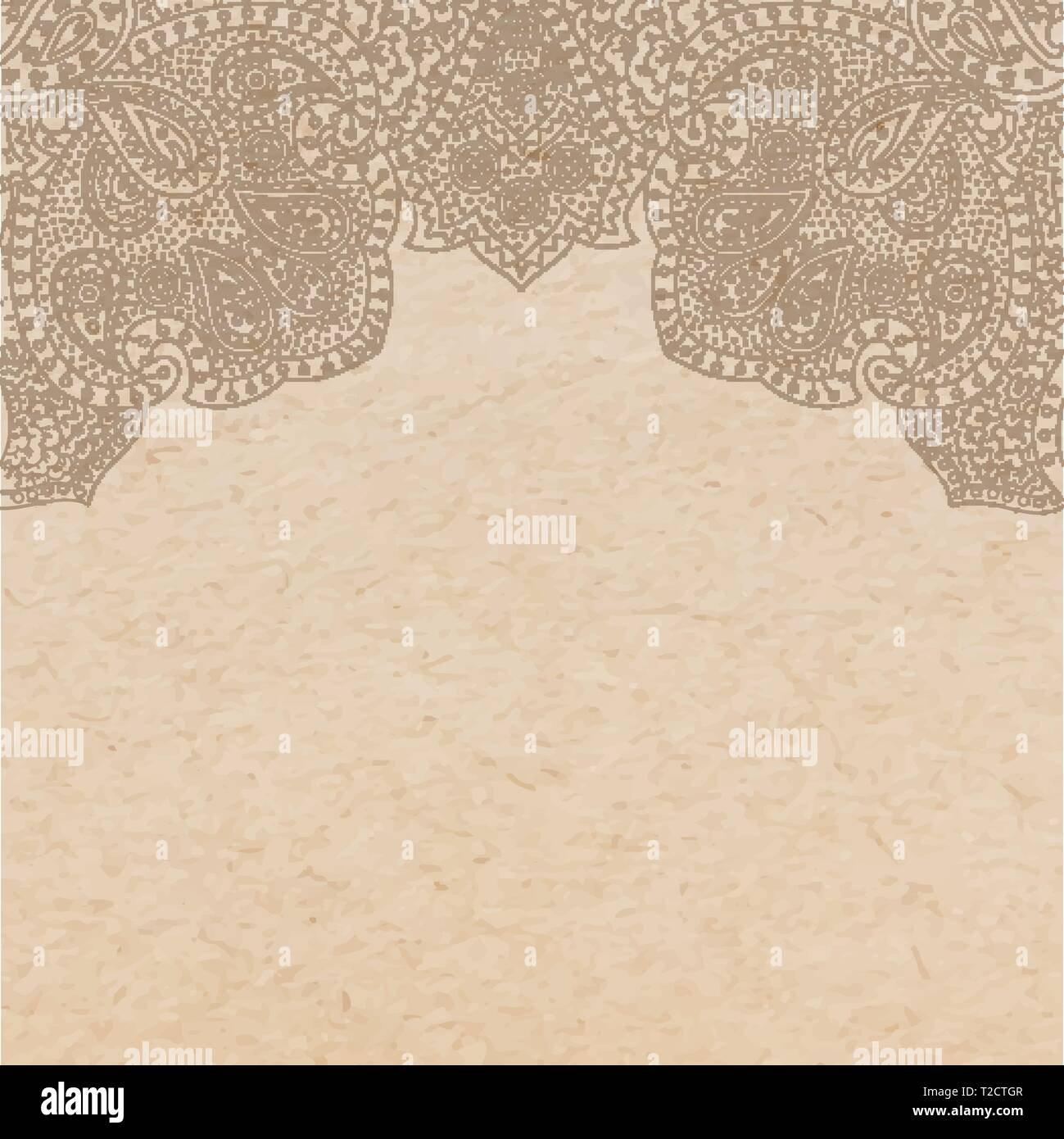 bac582b054249 Vintage old paper texture with vector traditional oriental paisley  ornament, indian style decorative background,