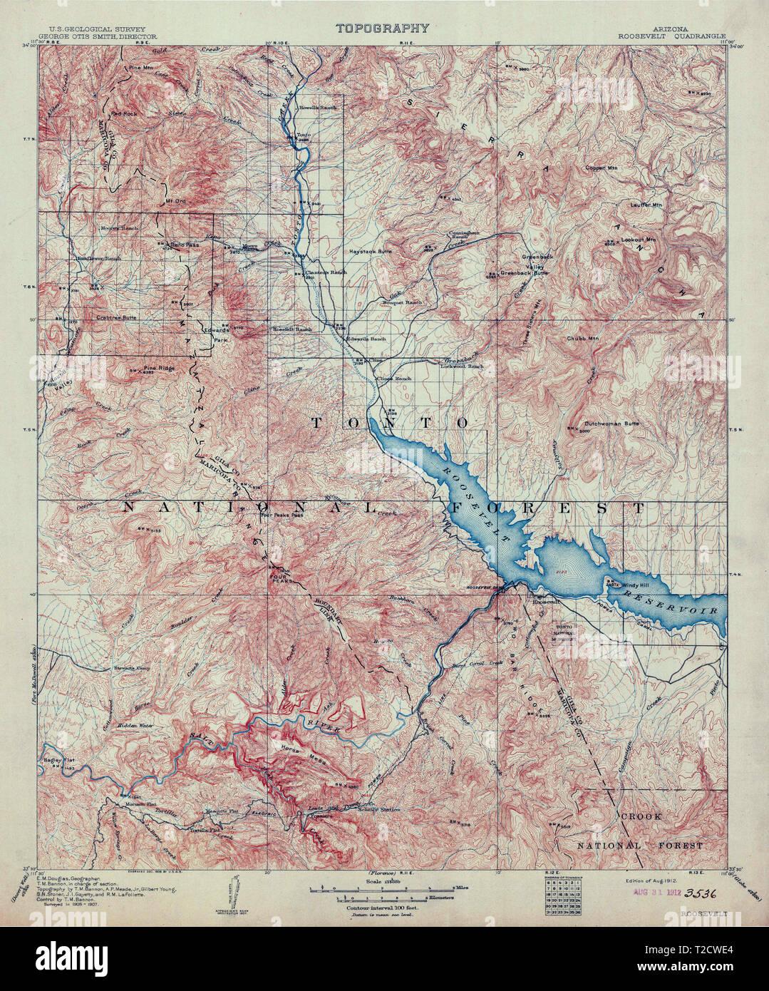 Topo Map Of Arizona.Usgs Topo Map Arizona Az Roosevelt 315403 1912 125000 Restoration