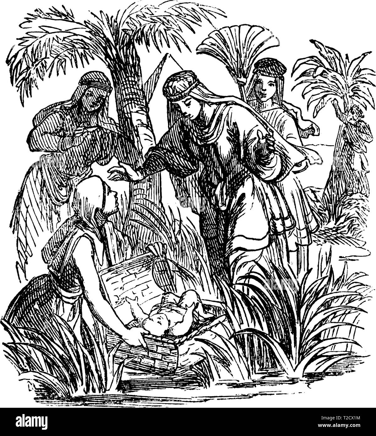 Vintage antique illustration and line drawing or engraving of biblical story about how Moses as baby was found by Egyptian princess. - Stock Vector