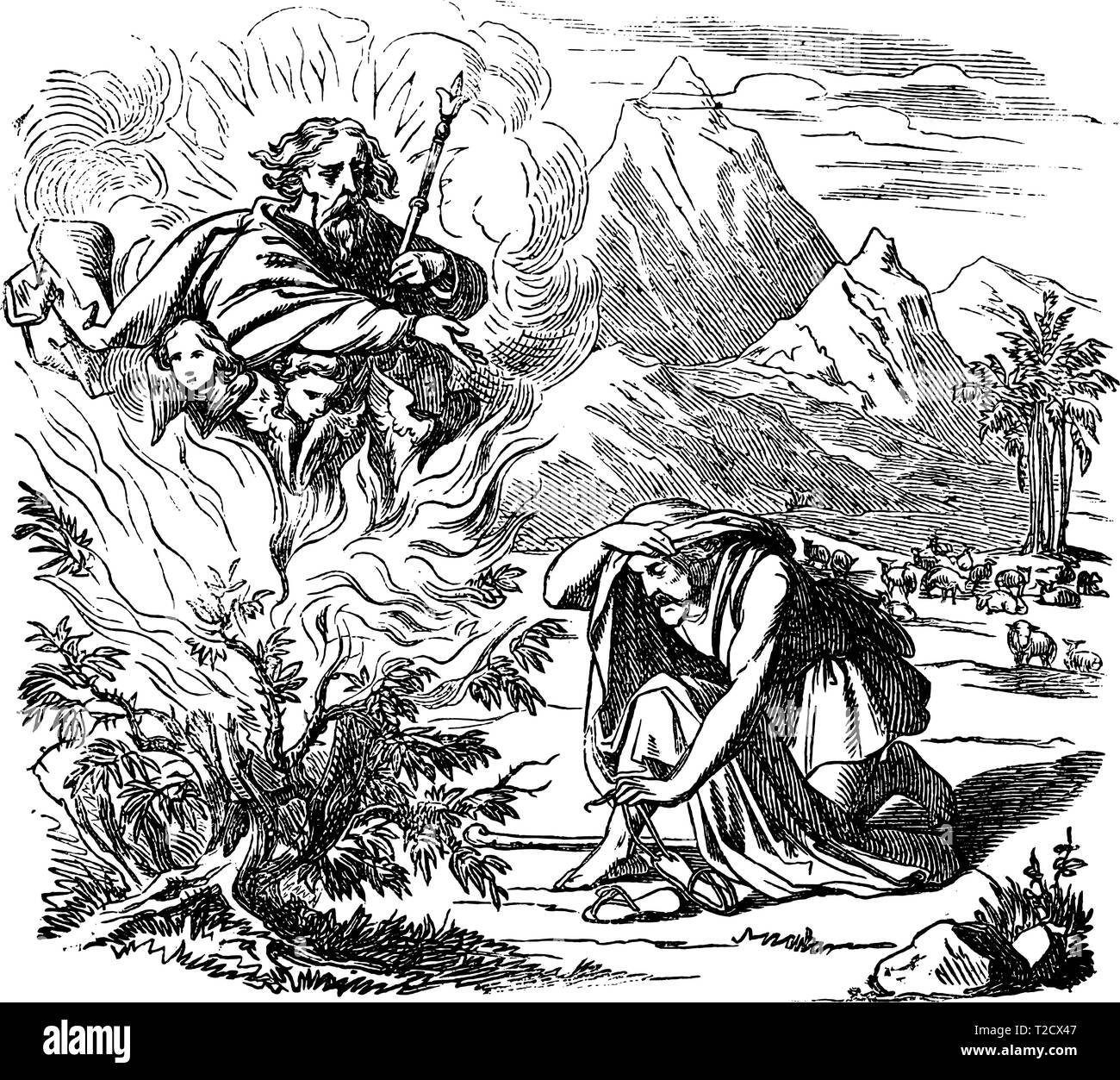 Vintage antique illustration and line drawing or engraving of biblical story of Moses and the burning bush.From Biblische Geschichte des alten und neuen Testaments, Germany 1859.Exodus 3. Man looking on bush in flames, God appears above him. - Stock Vector