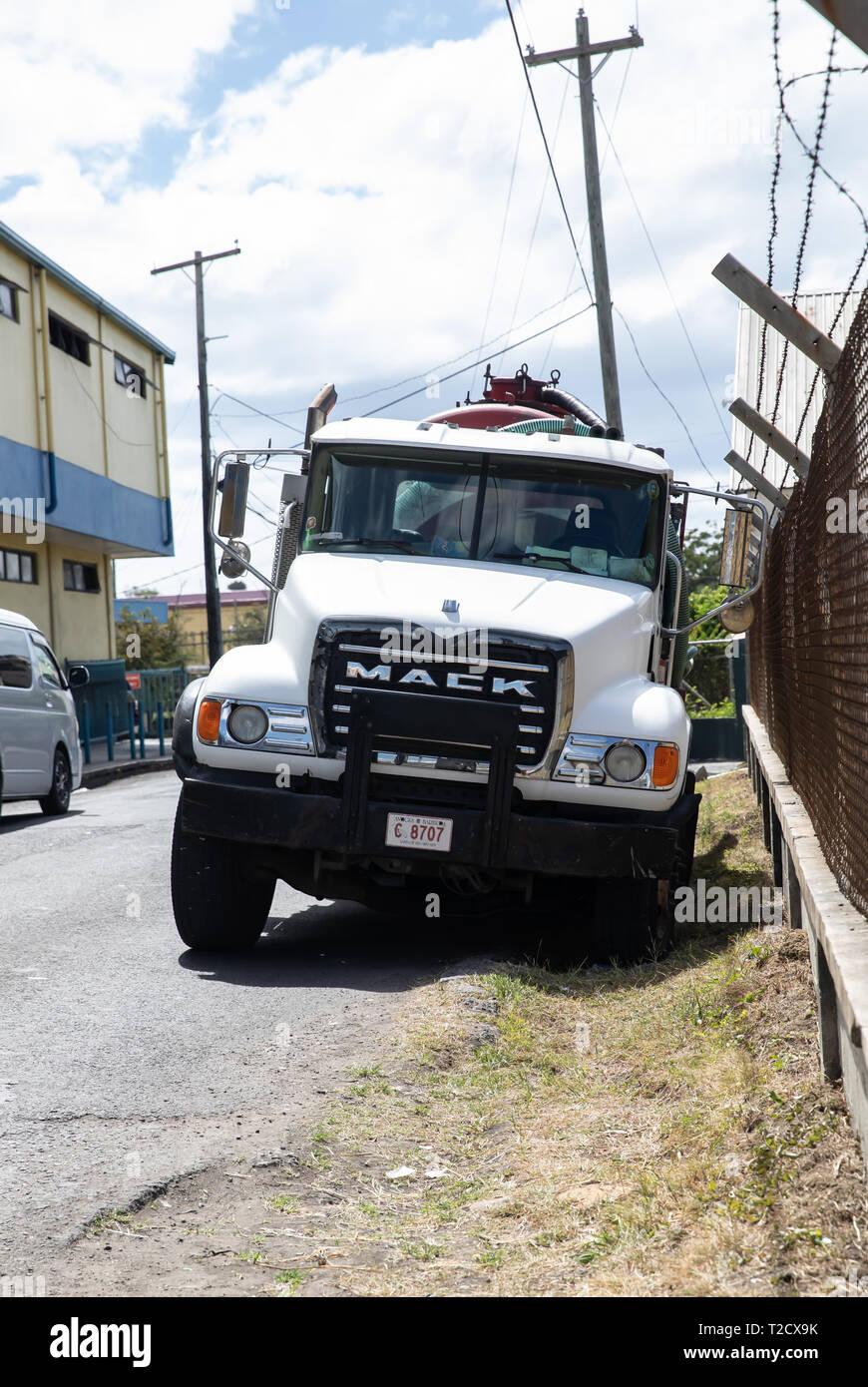 Mack truck in Saint John's, Capital of Antigua and Barbuda Stock Photo