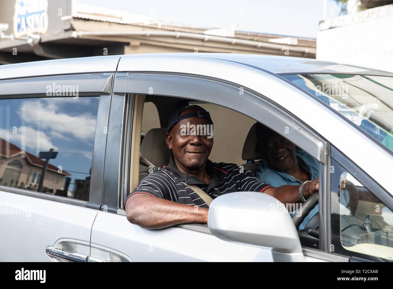 Cab driver smiling in Saint John's, Capital of Antigua and Barbuda Stock Photo